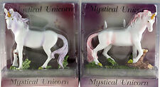 Set Of 2 Pink Lilac Mystical White Unicorn 15cm Resin Figurine Ornaments