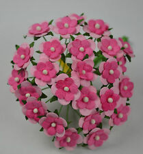 50 LIGHT PINK PINK 2-LAYERED sweetheart blossom Mulbery Paper Flowers for cards