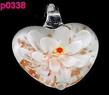 Fashion Womens Handmade Flower art lampwork glass pendant necklace p0338