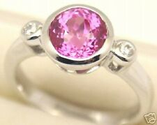 Pink Lab Created Sapphire Silver Ring, July, #153