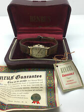 Vintage 10k Rolled Gold Benrus Endurable Manual Wind Watch Box Papers Hang Tag