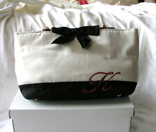 BNWT Black & Ivory Canvas With RED Initial K Bag Bamboo Handles,