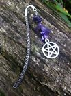 Tibetan Silver Pentagram Pagan Bookmark With Amethyst Crystal Chips, Wiccan Gift