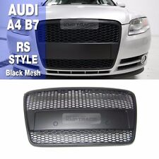 RS Style Black Frame Black Mesh Front Grille 1ea For AUDI 2005-2008 A4 B7