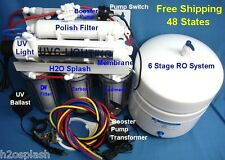 Reverse Osmosis System RO 100/150gpd 6 Stage DI UV Booster Pump Water Filter