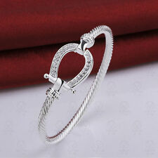 Womens 925 Sterling Silver Twisted Cable CZ Horseshoe Bangle Bracelet #BR136