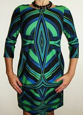 Looks New Womens J. Taylor Dress Sz 8 Blue Black Green Pattern Sheath Dress