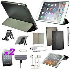 9 in 1 Accessory Bundle Kit Black Leather Case Cover Stand For iPad Air 2/iPad 6