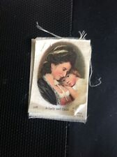 K3-8 B D V Godfrey Phillips Silk Cigarette Card Art No 308 Romney A Lady And Chi