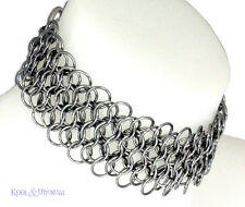 WIDE Steel Chain Mail Collar Choker by SINPATIKO * Goth Punk Emo