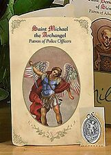 St Michael Patron Saint of Policemen Holy Card with Medal NEW (NS214)