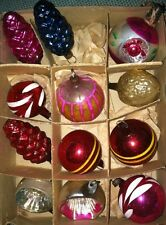 RARE Antique CHRISTMAS ORNAMENTS Indents Pine Cones Walnut Glass Balls German?