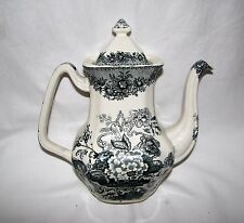 green transferware Mason's England Ascot Coffee Pot toile