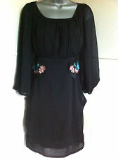 DESIGUALblack chiffonScoop neck short dress empire line peacock embroideryL12/14