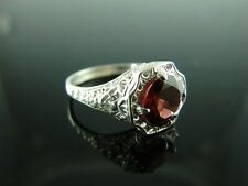 Sterling Silver Antique Style Filigree Ring With Natural Garnet Gemstone 8mm Rin