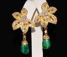 CERTIFIED NATURAL 17CTS VS F DIAMOND EMERALD 18K GOLD DANGLE & CLUSTER EARRINGS