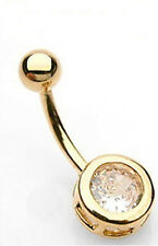 Gold Plated 8mm Round Clear CZ Gem Belly Button Ring Navel Bar Piercing