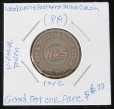 """RARE VINTAGE Woodlawn & Southern Motor Coach Co. (PA) """"GOOD FOR ONE FARE"""" Token"""