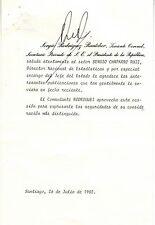 Chile 1975 Document Letter Signed ex President Eduardo Frei Montalva