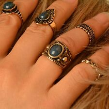 Rings Turquoise Stones Antique Women Jewelry Retro Silver Joint Rings Vintage
