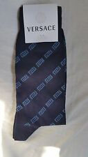 Versace Mens Blue Greek Chain Socks