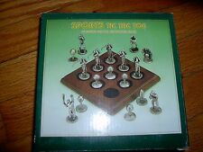 NEW IN OPENED BOX - SPORTS TIC TAC TOE - PEWTER PIECES W/ WOOD BASE - FOOTBALL