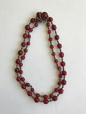 Miriam Haskell Double Strand GARNET RED Glass Jeweled Choker Necklace