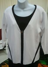 CATALINA GRACE Zip Up Sweater Size XL Bleach White Org $58 V Neck