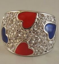 N  Ring   [ 925 Sterling Silver & Clear Cubic Zircon ] Hearts: Red and  Blue