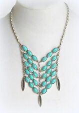 $69 NWT LUCKY BRAND TURQUOISE FEATHER CHARM BIB TRIBAL BOHO STATEMENT NECKLACE