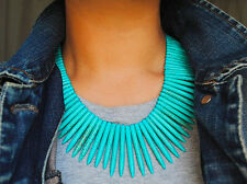 Anthropologie TURQUOISE Blue STONE Necklace BOHO STATEMENT Large BIB Collar NEW