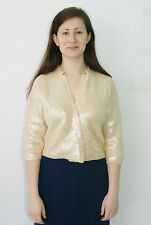 Vintage 50's 60's Ivory Iridescent Sequin Top Sweater Jacket by Ro Jo - Medium