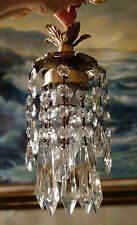1of7 hanging lily mini lamp Chandelier Crystal prism Brass Tole Pendant fixture