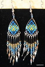 Handmade Native American Design Handpainted Ceramic Dangle Earrings Beads (7BBB)