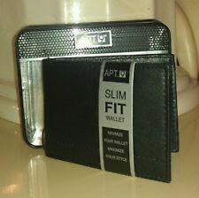 APT.9 MEN'S SLIM FIT PASSCASE -SEWN FLAP BLACK LEATHER WALLET IN METAL GIFT BOX