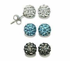 3 Pairs White-Blue-Gray 925 Silver Shamballa Crystal Disco Ball Earrings 8mm