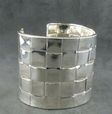 Woven Sterling Squares Cuff Bracelet Vintage Very Wide
