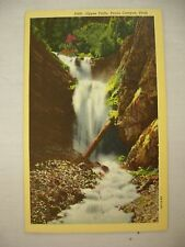 VINTAGE LINEN POSTCARD UPPER FALLS IN PROVO CANYON WASATCH MOUNTAINS UTAH UNUSED