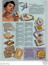 1955 PAPER AD Zell Fancy Hand Bags Purses Compacts Handpainted Cloisonne