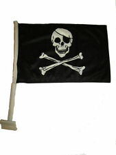 "12x15.5 JR Pirate Eyepatch Double Sided Nylon Car Vehicle 12""x15.5"" Flag"