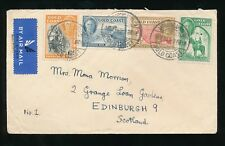 GOLD COAST AKROPONG AKWAPIM 1949 AIRMAIL KG6 to SCOTLAND 4 COLOUR FRANKING