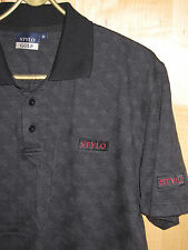 NEW Mens Golf Polo Top Mens Grey Black Golf Top Basketweave Golf Shirt MED Stylo