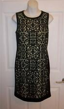 Catherine Malandrino Francois Black Green Laser Cut Cocktail Pencil Dress 0 NWT