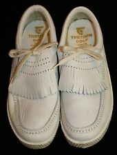 Womens Tretorn Vtg Golf Shoes Sz 6 1/2 6.5 White Metal Spikes Leather Cleats