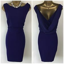 BNWT Oasis Dress size 16 44 Blue Pencil Wiggle Open Cowl Back Formal Scoop Party