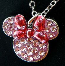 Disney park arribas bros swarovski pink red minnie ears bow crystal necklace