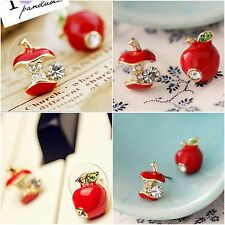 1 Pair Red Apple Ear Stud Earrings Fruit Asymmetric Crystal Piercing For Women