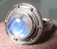 925 silver round cabochon rainbow moonstone ring UK N/US 6.75-7