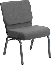 Flash Furniture HERCULES Series 21'' Extra Wide Gray Fabric Stacking Church...