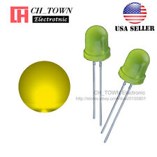 50pcs 8mm Yellow Color Yellow Light Diffused Round Top LED Diodes USA